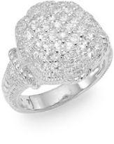 Judith Ripka Fleur Pavé White Sapphire & Sterling Silver Ring