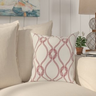 """Beachcrest Home Cece Cotton Indoor Geometric Square Throw Pillow Cover Size: 18"""" x 18"""" , Color: Bright Red"""