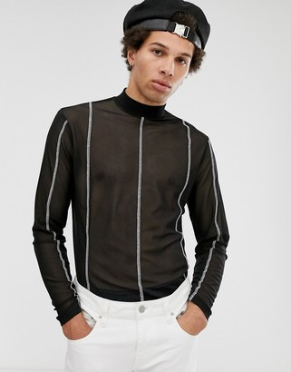 ASOS DESIGN long sleeve t-shirt with turtle neck in mesh with contrast stitching