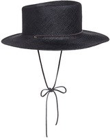 CLYDE 'Telescope' leather strap Panama straw hat