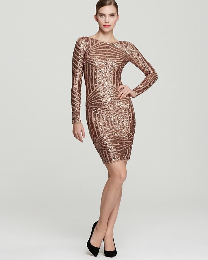 BCBGMAXAZRIA Sequin Dress - Long Sleeve