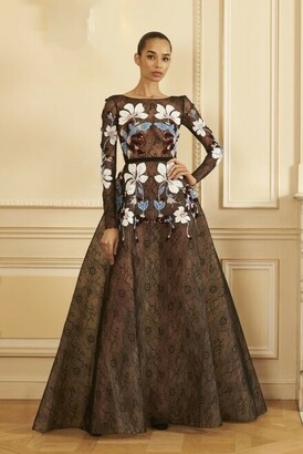 GEORGES HOBEIKA Long Sleeve Beaded Lace A-Line Gown