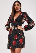 Missguided Tall Black Floral Print Skater Dress