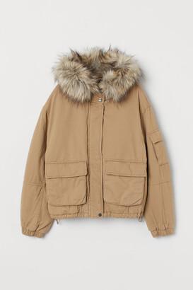 H&M Short Cotton Parka - Beige