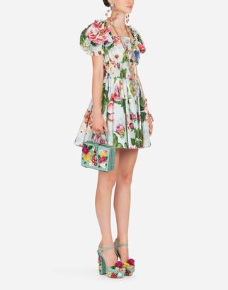 Dolce & Gabbana Short Floral-Print Poplin Dress