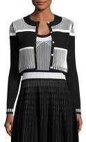 Prabal Gurung Striped Cropped Cardigan, Black/White