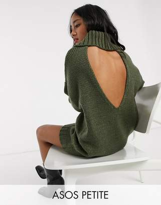 Asos DESIGN Petite chunky mini dress with roll neck with open back-Green