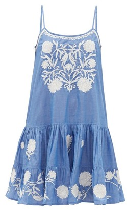 Juliet Dunn Floral-embroidered Cotton-chambray Mini Dress - Womens - Blue White