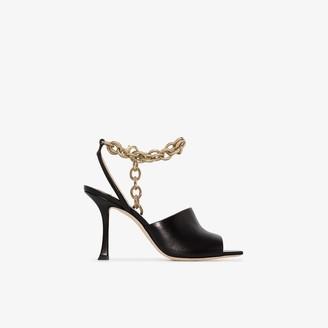 Jimmy Choo black Sae 90 ankle chain leather sandals