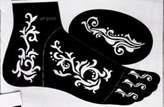 5pc JENNAH LEFT FOOT Indian Arabian Tattoo Reusable Stencils Stickers To Draw Around By LAMINAU