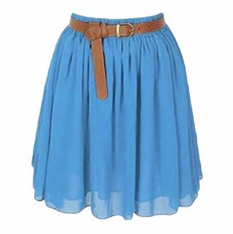 Celucke Women's Mini Skirt Girl Chiffon Short Dress Pleated Retro Elastic Waist Skirt Blue