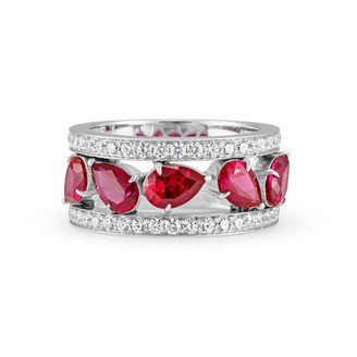 Swarovski Atelier Lola Wide Band Ring Created Rubies Size 58