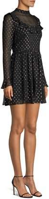 Robert Rodriguez Camille Metallic Polka Dot A-Line Chiffon Dress