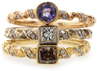 Overstock 18K Tri-color Gold Set of Three Diamond Stackable Rings
