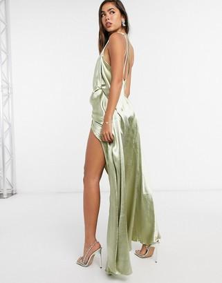 ASOS DESIGN one shoulder split strap satin maxi dress in milky khaki