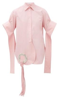 J.W.Anderson Crystal-embellished Cotton Poplin Shirt - Womens - Pink