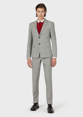 Emporio Armani Slim-Fit Single-Breasted Suit In Prince Of Wales Check Virgin Wool