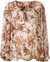 Mes Demoiselles leaf print tie blouse