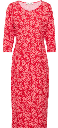 Diane von Furstenberg Floral-print Cotton And Silk-blend Jersey Midi Dress