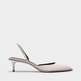 Alexander Wang Rina Low Slingbacks In Pale Pink Leather