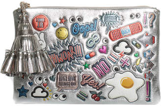 Anya Hindmarch Silver Leather All Over Stickers Pouch
