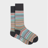 Paul Smith Men's Grey Signature Stripe Socks