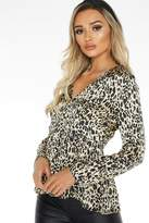 Quiz Brown Satin Leopard print Top