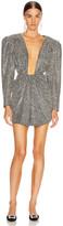 DANIELE CARLOTTA V Neck Lurex Dress in Silver | FWRD