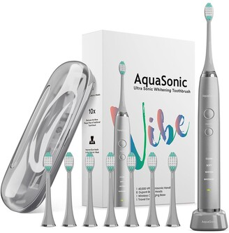Aquasonic VIBE Series Charcoal Gray UltraSonic Whitening Toothbrush with 8 DuPont Brush Heads & Travel Case
