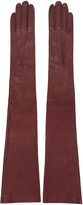 Erdem Burgundy Long Leather Gloves