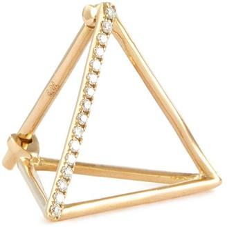 Shihara 'Triangle' diamond 18k yellow gold pyramid single earring 15mm