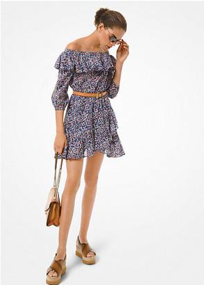 Michael Kors Floral Cotton Lawn Off-the-Shoulder Dress