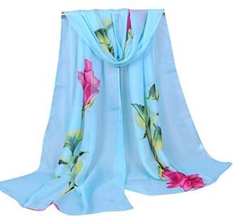 DEELIN Womens Fashion Flower Rose Print Long Soft Wrap Scarf Ladies Shawl Chiffon Scarf Scarves Long Shawl Wrap Large Scarf 160 * 50CM Blue