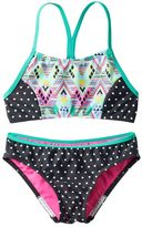 Speedo Girls 7-16 Diamond Geometric Splice Bikini Swimsuit Set