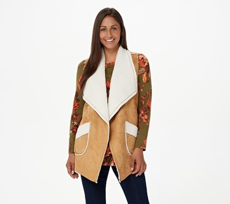 Denim & Co. Naturals Reversible Faux Suede to Sherpa Vest