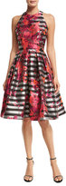 Carmen Marc Valvo Sleeveless Striped Fit-and-Flare Dress, Multicolor