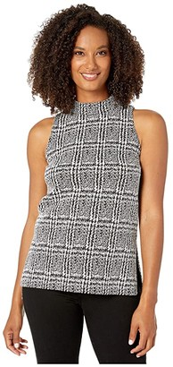 MICHAEL Michael Kors Plaid Jacquard Split Hem Tunic (Black) Women's Clothing