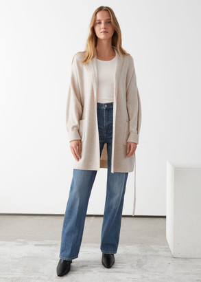 And other stories Long Belted Shawl Collar Cardigan