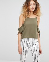 Daisy Street Cold Shoulder Top With Tie Detail