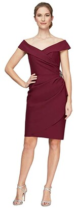 Alex Evenings Short Off-the-Shoulder Sheath Dress with Ruffle and Embellishment (Wine) Women's Dress