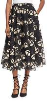 Co Cage Floral Lace Midi Skirt, Black