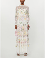 Selfridges Needle And Thread Rosalie floral-sequinned tulle gown