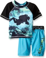 Big Chill Little Boys Diver Rash Guard Swim Set