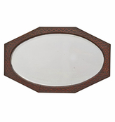 Rejuvenation Revival-Style Oval Mirror w/ Patterned Wood Frame