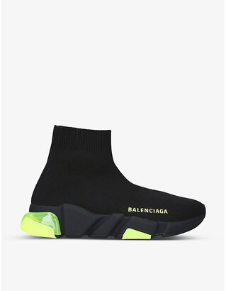Balenciaga Women's Speed Bubble clear-sole stretch-knit mid-top trainers