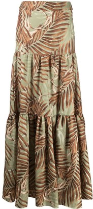 PatBO Palm-Print Maxi Skirt