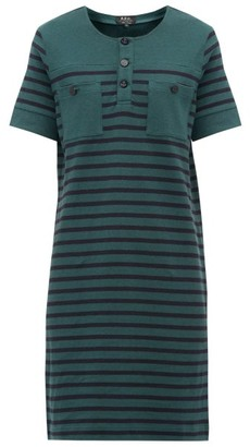 A.P.C. Gaelle Striped Cotton Mini Dress - Womens - Green Multi