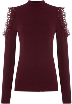 Biba Embellished Cold Shoulder Jumper