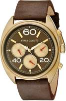 Vince Camuto Men's VC/1053RDGP The Transporter Multi-Function Dial Chocolate Brown Leather Strap Watch