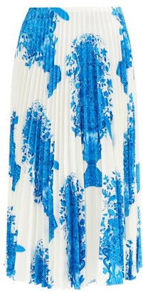 Valentino Delft-print Knife-pleated Silk-twill Midi Skirt - Blue White